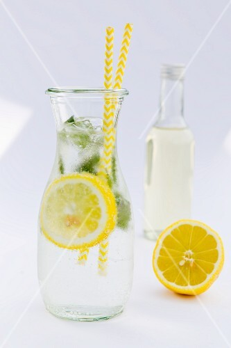 Lemonade with peppermint in a carafe