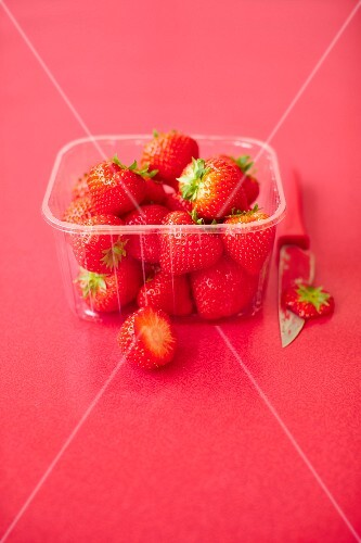Fresh strawberries in plastic punnet