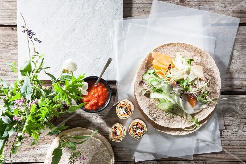 Vegan tortilla wraps with tofu and vegetables (seen from above)