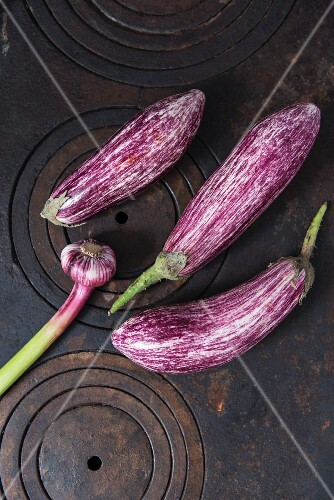Striped aubergines and fresh garlic on a cast-iron stove