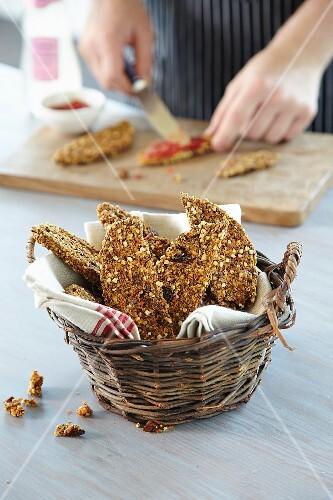 Buckwheat bread in a basket