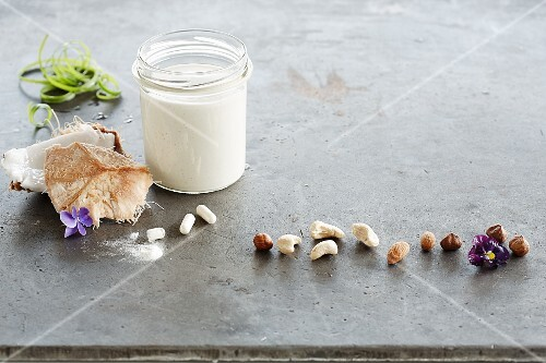 Fermented coconut milk and various nuts