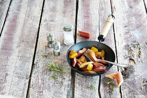 Fried rhubarb in a pan