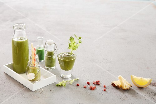 Green smoothies with ingredients