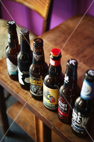 A row of rare beers in the Monterey Bar, Berlin