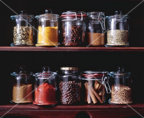 Assorted spices in jars