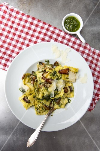 Porcini mushroom ravioli with pasta and Parmesan cheese