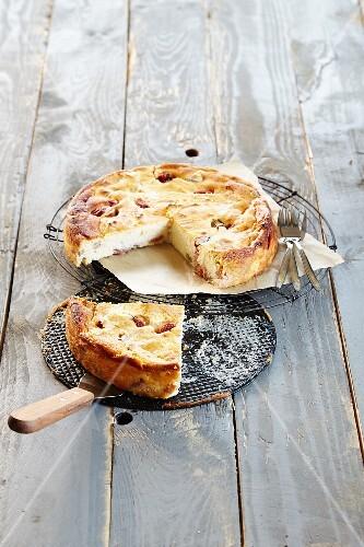 Rhubarb cheesecake, sliced