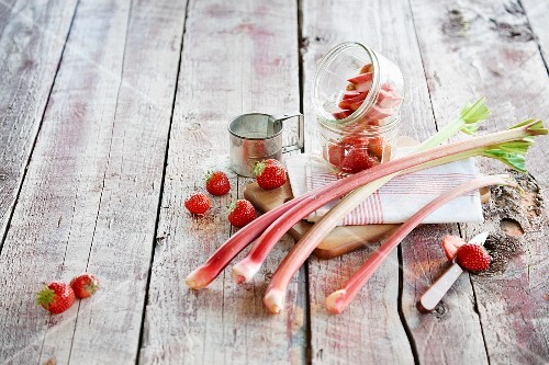 An rrangement of fresh rhubarb and strawberries