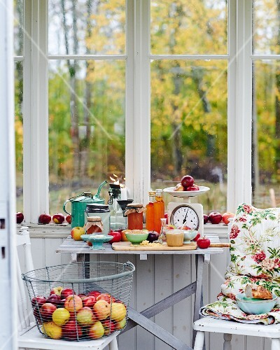 An arrangement of fresh apples and apple products in front of a kitchen window