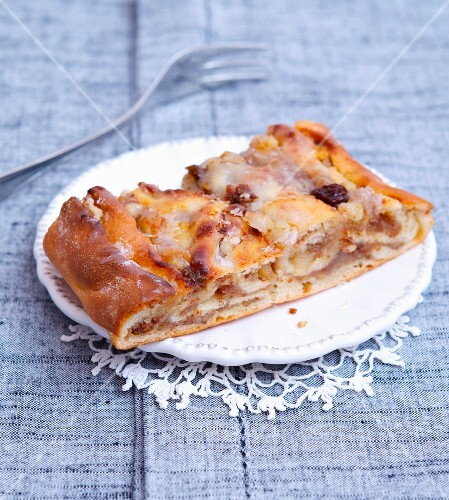 A slice of nuts and raisin pastry