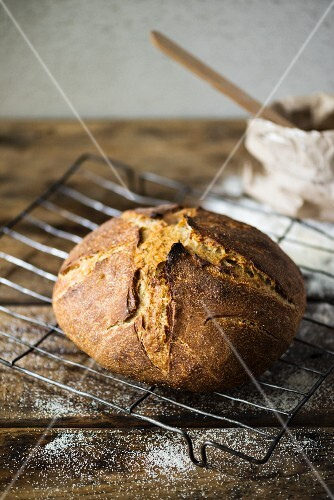 Sourdough bread on a wire rack