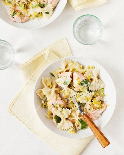 Farfalle pasta with salmon, leek and mint in a lemon and caper sauce