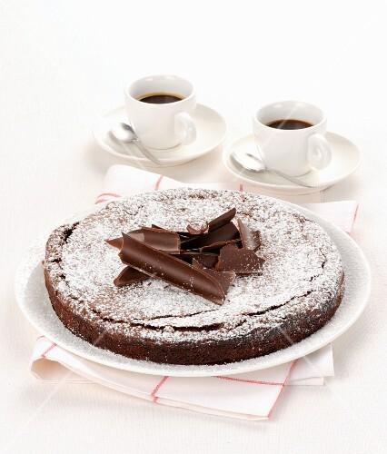 Dark chocolate cake and espressos