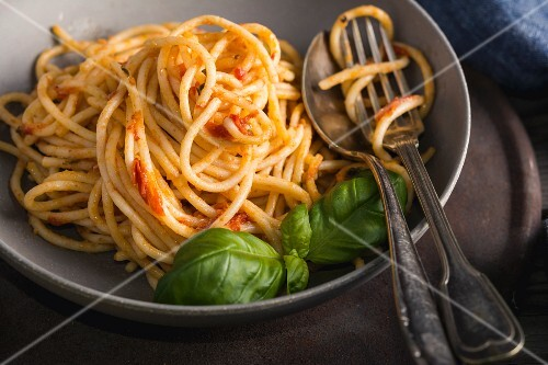 Plate of spaghettis with tomato sauce and basil