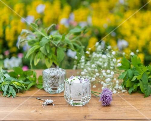 Herb salt on a garden table