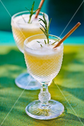 Lemonade garnished with rosemary
