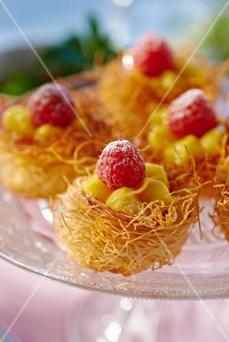 Kadaif nests with lemon cream and raspberries