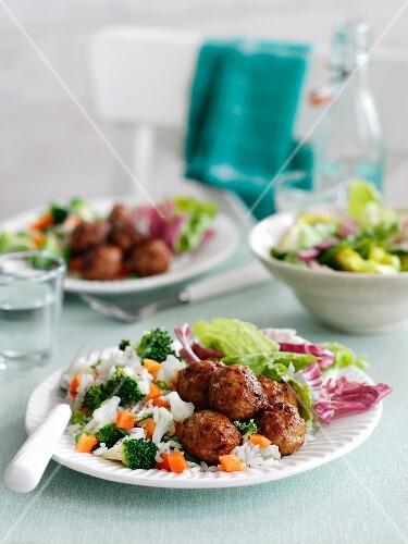 Cajun meatballs with vegetable rice