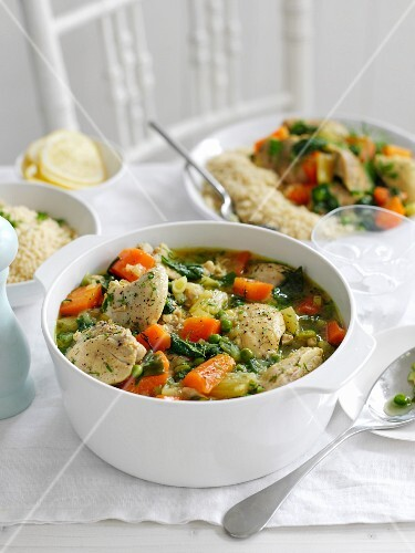 Chicken stew with vegetables and dill