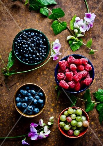 Bowls of fresh summer berries (raspberries, gooseberries and blueberries)