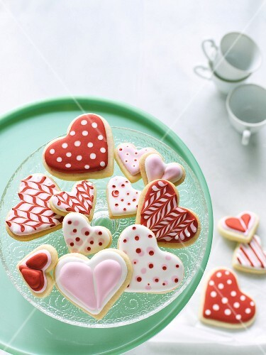 Heart-shaped biscuits with red and white icing