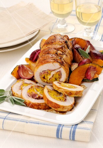 Roast turkey with a pumpkin and bacon stuffing