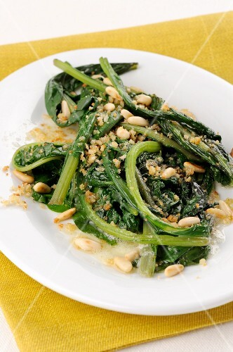 Chard steamed in butter with pine nuts and crispy breadcrumbs