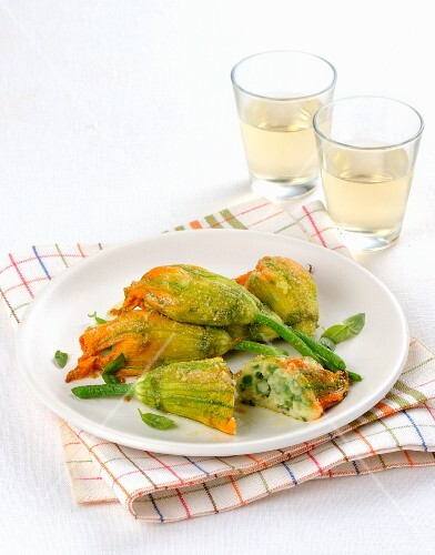 Courgette flowers with a vegetarian filling