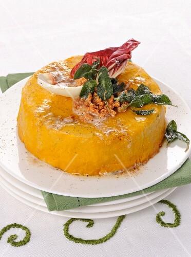 Pumpkin flan with sage and radicchio