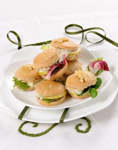 Mini cheese, pear, walnut and salad sandwiches
