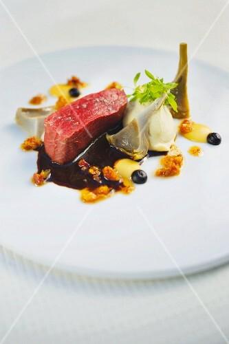 Bison with artichokes, restaurant Storstad in Regensburg
