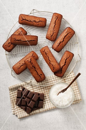 Chocolate financiers and grated coconut
