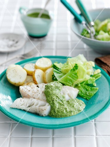 Grilled cod with a cress sauce and potatoes