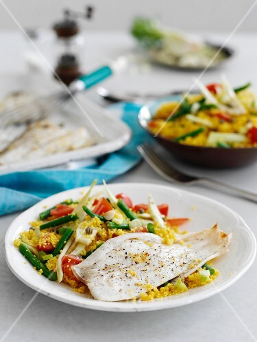 Grilled lemon sole with golden couscous and fennel