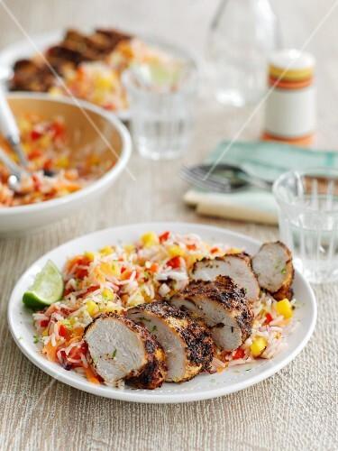 Jerk chicken with Caribbean vegetable rice