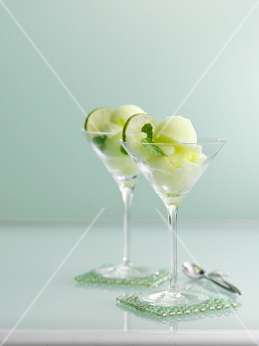 Lime sorbet with mint