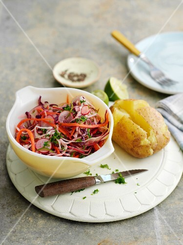 Mexican coleslaw and a jacket potato