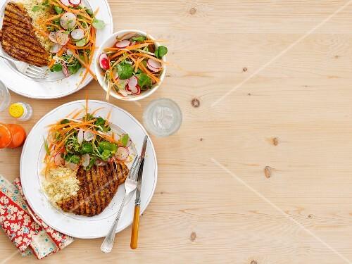 Turkey steak with watercress salad