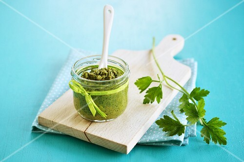 A jar of parsley pesto