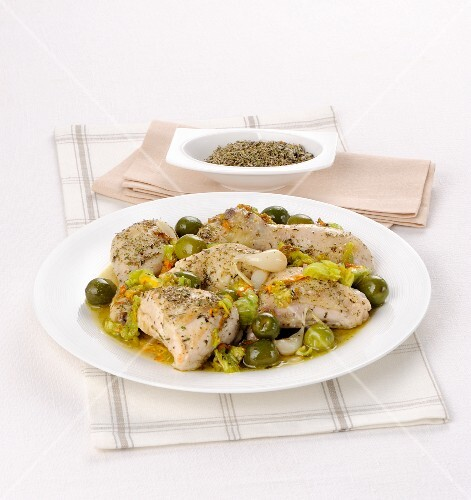 Herb chicken with green olives
