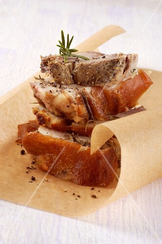Porchetta di Ariccia (Roast pork speciality from Ariccia, Latium, Italy)