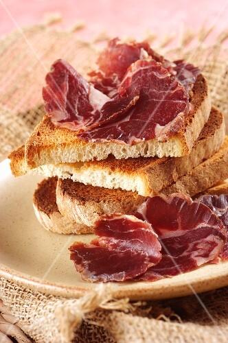Prosciutto di pecora (mutton ham from Sardinia, Italy)
