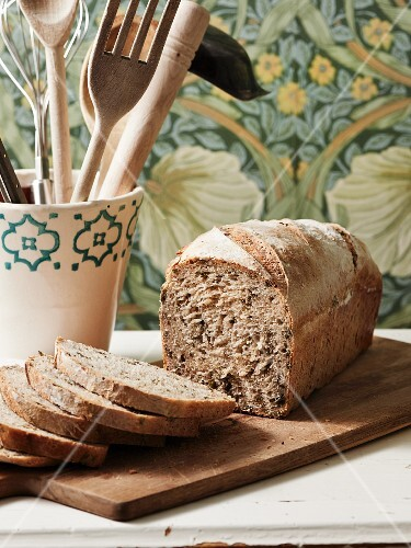 Homemade sour dough rye bread with kale