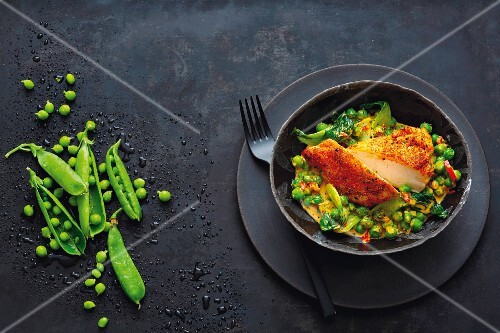 Corn-fed chicken breast and pea curry with bok choy