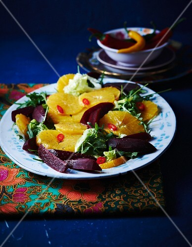 Orange salad with beetroot, rocket and cos lettuce