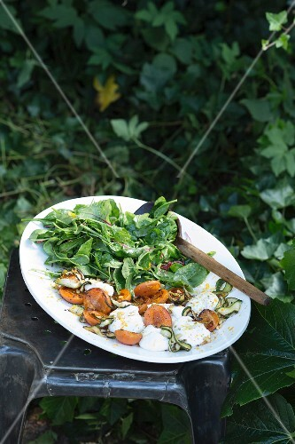 A summer salad with marinated mozzarella, apricots and courgettes