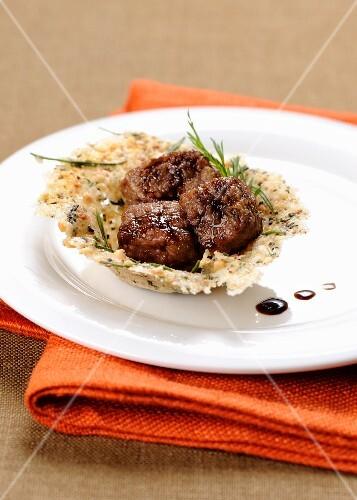 Sfoglia di nocciole con fassone (Piedmont beef on hazelnut wafers, Italy)