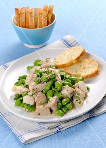 Swordfish ragout with fava beans