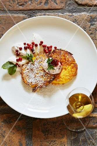 Butternut squash cake with lingonberry quark